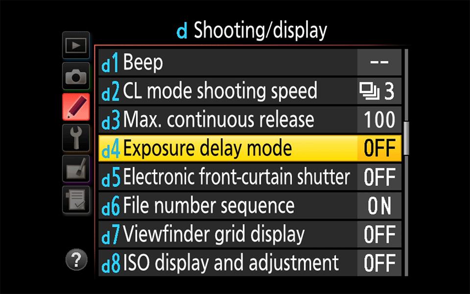 نحوه استفاده از Exposure Delay در دوربین نیکون